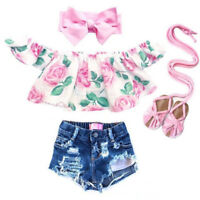 2PCS Toddler Kids Baby Girls Flower Clothes Outfit T-shirt Tops+Denim Shorts Set