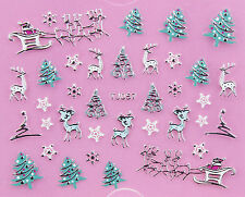 Christmas SILVER Snowflakes Xmas Tree Reindeer Sleigh 3D Nail Art Sticker Decal