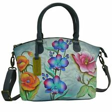 "Womens Anuschka Leather Hand Painted ""Floral Fantasy"" Tote Satchel Handbag"
