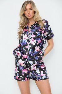 Womens Floral SATIN Short Sleeve Top Pyjamas Set Button Up Ladies Shorts PJ Set