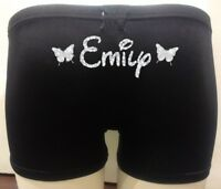 Personalised LYCRA Black Dance Gymnastic Gym Shorts Glitter Text + BUTTERFLIES