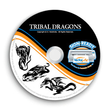 TRIBAL DRAGONS CLIPART -VECTOR CLIP ART-VINYL CUTTER PLOTTER IMAGES GRAPHICS CD