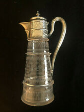 Martin, Hall & Co London England cir 1876 Sterling Silver Etched Glass Pitcher