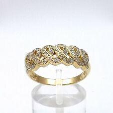 14K Gold Pave' Diamond Awareness Ribbons Hearts Interlocking Unique Ring Sz 8