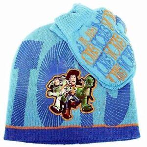 Disney Pixar Toy Story 3 Toddler Boy's Blue Knit Beanie Hat & Mitten Set Sz 2-4T