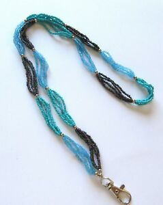 Spirit of Nature Lanyard/ID holder- seed beads -  purple turquoise metallic