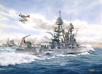 """U.S.S. Pennsylvania"" Tom Freeman Print - Battleship on Fleet Maneuvers 1936"