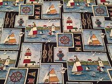 5 Yds New Zepel Mill Creek Nautical Design Decor Cotton Fabric Sailboat