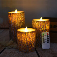 3PCS Flameless LED Pine Shape Candle Lamp Night Light Party Decor Remote Control