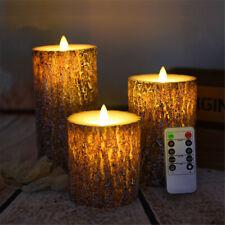 3PCS Flameless LED Pine Shape Candle Lamp Night Light Party Decor Remote Control