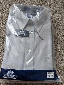 NWT STAFFORD Wrinkle Free Oxford Dress Shirt   Gray Size 15 1/2. 32/33