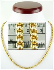 """(33g) Unusual 9ct Solid Gold Belcher Link Chain (18"""") Hallmarked Necklace 9k 375"""