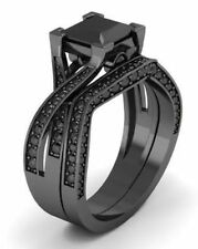 Black Moissanite Wedding Bridal Jewelry engagement Ring Sterling Silver 925