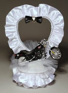 Harley Davidson Motorcycle and Satin Wedding Cake Topper 416 HANDCRAFTED IN USA