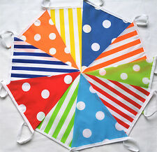 30 FT 9M Multi Candy Mixed Handmade Fabric Bunting Birthdays New Year Sale