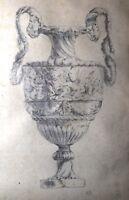 antique original 18th century figural garniture ornamental urn planter drawing .