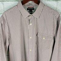 Banana Republic Button Down Shirt Slim Fit Red Multi Striped Men's XL 17-17.5