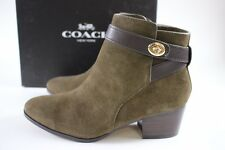 NIB COACH Size 7.5 Women's Fatigue Suede Chestnut Leather PATRICIA Ankle Bootie