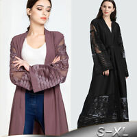 Plus Size  Abaya African Kimono Long Women Chiffon Lace Cardigan Blouse Tops
