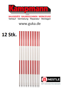 12 Stück Nestle 2m Fluchtstäbe Fluchtstab Peilstab HOLZ PVC-ummantelt rot weiß
