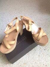 Prada Miu Miu Tan leather and suede platform sandal. 38.5