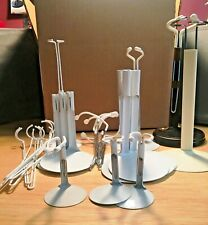 Lot of 19 Metal Doll Stands, 18 White Base, 1 brown wood platform, new & used