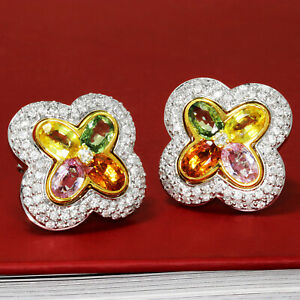 Multi-Color Sapphire Clover Earrings with Diamonds 18K Gold 4.00ctw