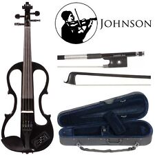 Johnson EV-4s Companion Black Electric Violin Outfit including Carbon Bow & Case