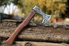 Handmade Damascus Steel Axe Skeleton Etching Viking Axe Tomahawk Rosewood Handle