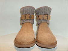 UGG Australia CASSIDEE CABLE KNIT BOOTS w/SUEDE LEATHER STRAP Ret$170 Women Sz:5