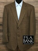 JOS A BANK Mens Brown Wool  Houndstooth Plaid 2-BTN Blazer Sport Coat Jacket 46R