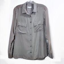 Equipment Purple Gray Silk Button Down Blouse Top Long Sleeve Womens Sz Small S