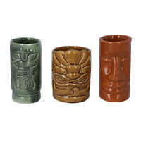 Tiki Mugs Set of 3 Multi Color Ceramics Home Office Table Room Decor Gift