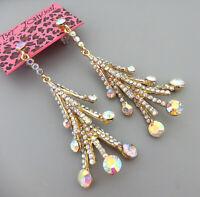 Women's AB Crystal Rhinestone Tower Betsey Johnson Dangle Drop Earrings