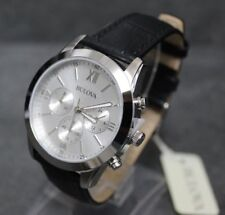 Bulova Leather Mens White Face Steel Chronograph Watch Stunning.
