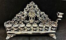 Antique 925 Sterling Silver Hanukkah Menorah Hanukkiah Jewish Judaica Since 50s'