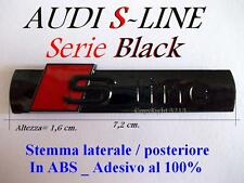 AUDI S S-line BLACK NERO Stemma Badge Logo LATERALE POSTERIORE A2 A3 A4 A5 A6 TT