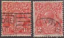 (R2-5)1926-30 Au GV 1½d& 2dRed Small Multi InvertedWmks