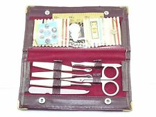 Manicure and Sewing travel Kit set comes with vinyl case vintage look.