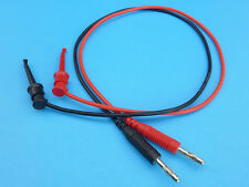 Silicone Test Leads (50cm) with Sprung Hooks and Banana Plugs (1 Pair Red+Black)