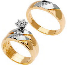 14KT Two Tone Gold His Hers Trio Diamond Wedding Band Engagement 3 Ring Sets
