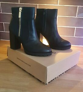 River Island black ankle boots block high heel BRAND NEW 5 leather zip in box 38