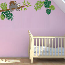 Sloth Tree Branch Wall Sticker Tropical Palm Leaf Wall Art Decal Kids Room Decor