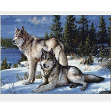 5D Wolf Counted Cross Stitch Kit Diamond Embroidered Paste Paintings Needlework