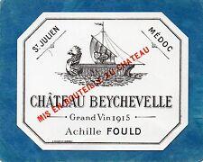 ST JULIEN 4E GCC VIEILLE ETIQUETTE CHATEAU BEYCHEVELLE 1915 73 CL RARE §21/05§