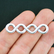 BULK 30 Double Infinity Connector Charms Antique Silver Tone 2 Sided - SC3919