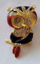 Vintage Rhinestone Diamante & Enamel Gold Plated Owl Brooch Black & Red