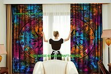Indian Cycle of Age Tie Dye Decorative Door Window Room Curtains 2 PC Boho Decor