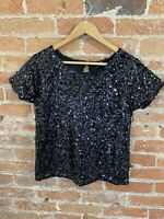 NEXT WOMENS BLACK SEQUIN SHORT SLEEVE TOP PETITE SIZE: 10P BNWT RRP £20.00