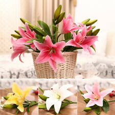3 Heads Artificial Lily Flower Wedding Party Bridal Bouquet Home Decor Flower